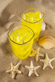 Cold drinks on the beach Stock Photos