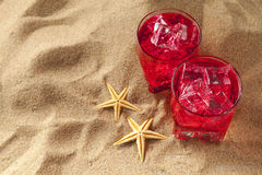 Cold drinks on the beach Royalty Free Stock Image