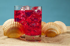 Cold drinks on the beach Stock Photography