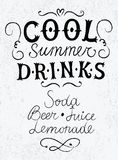Cold drinks calligraphy on textured background Stock Photos