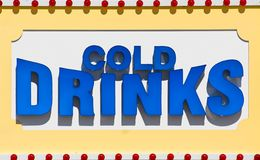Cold Drinks Sign. Large sign advertising cold drinks for a restaurant on a beach boardwalk Stock Images