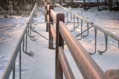 Cold empty bike rack Royalty Free Stock Images