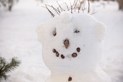 Cold face of snowman has carrot nose, pipe and button eyes. Red scarf  straw hat. Royalty Free Stock Photos