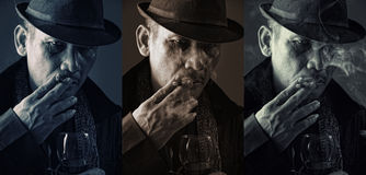 Cold faces of old mafia Stock Image