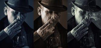 Cold faces of old mafia Stock Image
