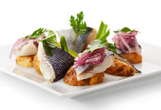Cold Fish Dishes - Fish with Potato Royalty Free Stock Photos