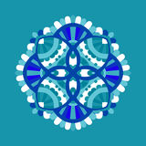 Cold floral mandala. Abstract winter floral mandala, cold colored vector illustration Royalty Free Stock Images