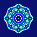 Cold floral mandala. Abstract winter floral mandala, cold colored vector illustration Stock Photo