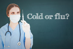 A Cold or flu? against chalkboard Stock Photos