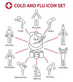 Cold and flu icons Stock Photography