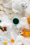 Cold and flu over the counter medications. Cold and flu season medicines for cough, sneeze, and sore throat Stock Photos
