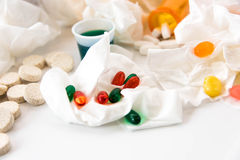 Cold and flu over the counter medications. Cold and flu season medicines for cough, sneeze, and sore throat Royalty Free Stock Images