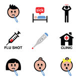 Cold, flu, sick people vector icons set Stock Image