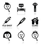 Cold, flu, sick people vector icons set Royalty Free Stock Photography
