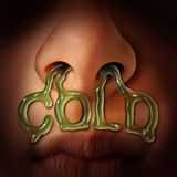 Cold And Flu Symptoms. Medical health care concept as nostrils dripping mucus flowing out of a human nose as a medical symbol for seasonal sinus infection or Royalty Free Stock Images