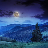 Cold fog on deep midnight in mountains Royalty Free Stock Images