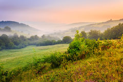 Cold fog on hot sunrise in mountains. Cold morning fog with red hot sunrise in the mountains Stock Photos