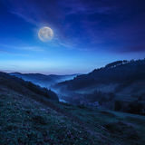 Cold fog in mountain village at night Stock Images