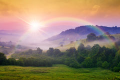 Cold Fog On Hot Sunrise In Mountains Royalty Free Stock Images
