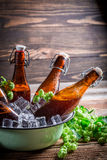 Cold and fresh beer with ice cubes Royalty Free Stock Photos
