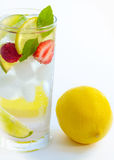 Cold fresh cocktail lemonade drink on white background Stock Images