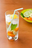 Cold fresh drink with lemon, lime, kumquat and mint. Royalty Free Stock Image