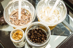 Cold fresh ice coffee. With chocolate close up Royalty Free Stock Images