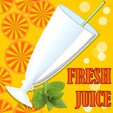 Cold fresh juice, template with glass, straw, bubbles, orange juicy slices and mind leaf on orange summer background Stock Photography