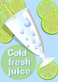 Cold fresh juice, template with glass, straw, water droplets, green juicy slices of lime on light blue cool background with inscri Stock Photo