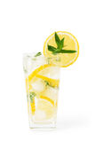 Cold fresh lemonade. Drink with mint Royalty Free Stock Images