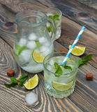 Cold fresh lemonade drink Royalty Free Stock Photos