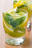Cold fresh lemonade with lemon, lime and mint Stock Photo
