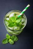 Cold fresh lemonade with mint and ice Stock Photo