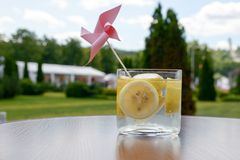 Cold fresh lemonade with slices of lemon Stock Image