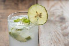 Cold fresh lemonade soda drink. Stock Photo