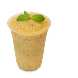 Cold fresh passion smoothie in takeaway glass on white Royalty Free Stock Photos