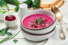 Cold fresh traditional vegetable summer soup made of beetroot beet Stock Image