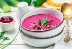 Cold fresh traditional vegetable summer soup made of beetroot beet Royalty Free Stock Photo