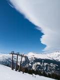 Cold front above ski resort Stock Images