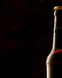 Cold frosted beer bottle border. With a partial view of a sealed full bottle of lager or beer over a black background with copy space Royalty Free Stock Photos