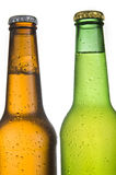 2 Cold Frosted Beer Bottles on White Background Stock Image