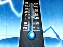 Cold frosty temperature. Thermometer illustration Royalty Free Illustration