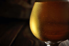 Cold frothy beer in a glass on a dark wooden background Stock Photos