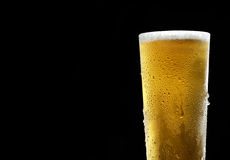 He cold frothy beer in a glass  on a dark wooden background. Beer in a glass on a wooden background Stock Photo