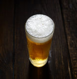He cold frothy beer in a glass  on a dark wooden background. Beer in a glass on a wooden background Royalty Free Stock Images