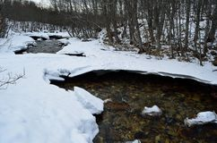 Cold frozen mountain river stream in the cold winter forest in the deep arctic circle wilderness Royalty Free Stock Photography