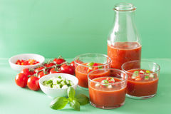 Cold gazpacho soup in glass and ingredients Stock Images