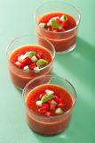 Cold gazpacho tomato soup in glasses Stock Photos