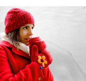 Cold girl against snowy background Royalty Free Stock Photography