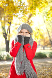 Cold girl with scarf Royalty Free Stock Photo
